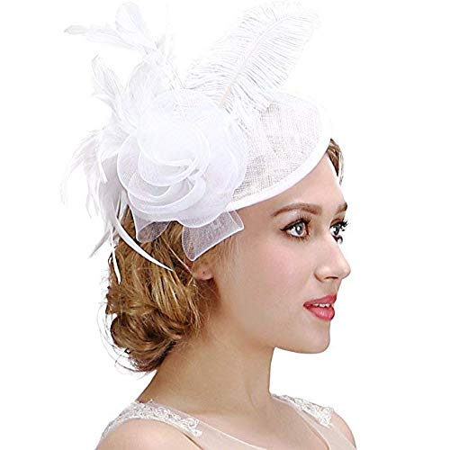 Valdler Womens Feather Mesh Net Sinamay Fascinator Hat with Hair Clip Tea Party Derby White -