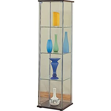 curved glass curio cabinet for sale coaster modern contemporary cappuccino top bottom antique walmart
