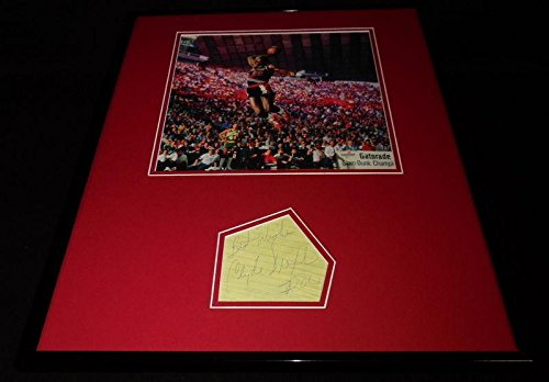 Clyde Drexler Autographed Photograph - Framed 16x20 Dunk Poster Display - JSA Certified - NBA Cut Signatures