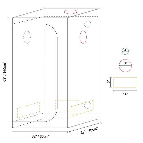 "41ti9QHQ1uL - IDAODAN 32""x32""x63"" Reflective 600D Mylar Hydroponic Grow Tent for Indoor Plant Growing"
