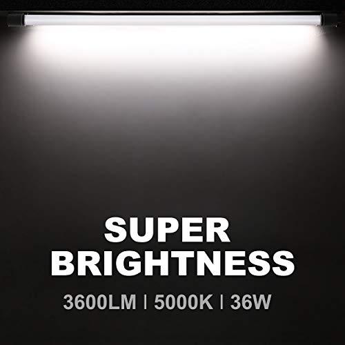 5000K Daylight 36W Equivalent 250W 4 FT Surface Black 48 Inch Integrated Fixture for Garage Suspension Mount Bbounder 6 Pack Linkable LED Utility Shop Light