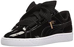 Puma Women's Basket Heart Patent Wn's Sneaker, Black Black, 8.5 M Us