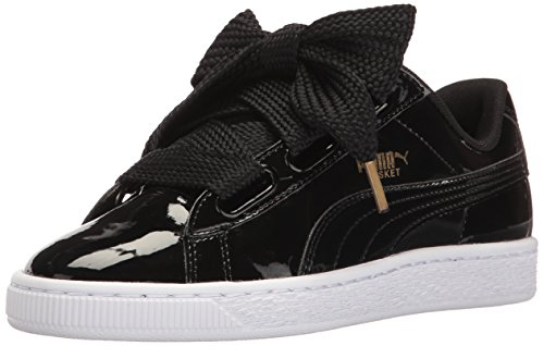 PUMA Women's Basket Heart Patent WN's Sneaker, Black Black, 8 M US -