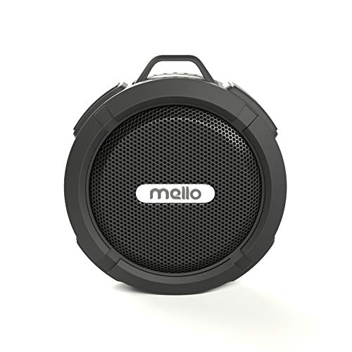 Mello Mini | Shower Speaker - Bluetooth, Waterproof, Removable Suction Cup, Travel Clip, Long-Lasting (USB) Rechargeable Battery, 5 Watt Speaker, Wireless, Durable (Black)