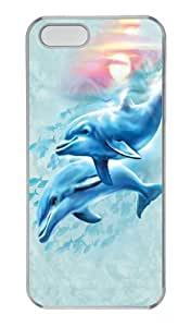 Dolphin Sunset PC Case Cover for iPhone 5 and iPhone 5s Transparent