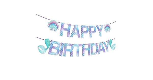 Amazon.com: Pancarta de cumpleaños con diseño de sirena ...
