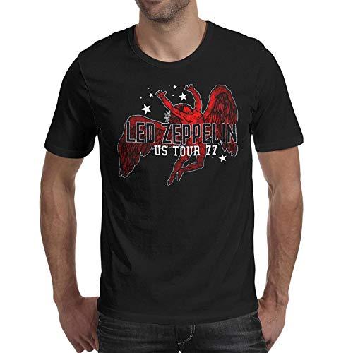 Dutte Lisa Short Sleeve Tees O-Neck Led-Zeppelin-US-Tour-1977- T-Shirt for - Tour T-shirt 1977