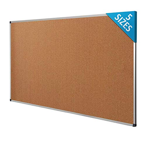 Cork Notice Pin Board | Aluminum Framed Memo Board for Office and Home Use | 5 Sizes Available - 36