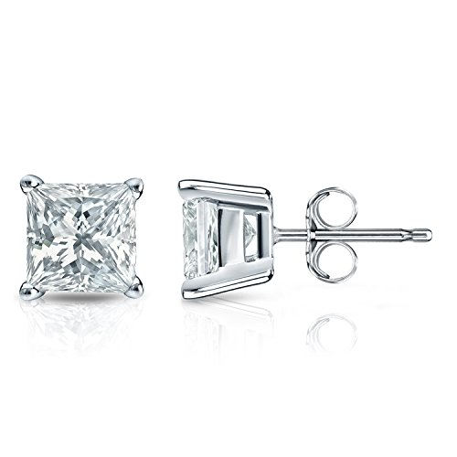 Princess Cut Diamond 4 Prong (14k White Gold 4-Prong Basket Princess-cut Diamond Stud Earrings (1/4 ct, J-K, I2-I3))
