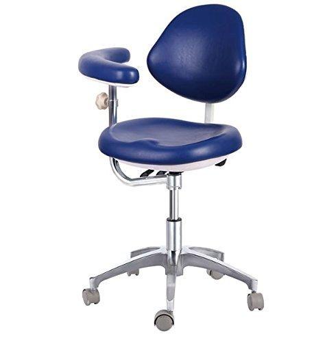 Dental Medical Dentist's Mobile Chair Doctor and Nurse's Stools with Backrest Armrest PU Medium Blue (#3)