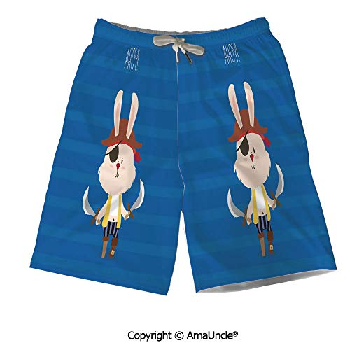 Personalized Beach Shorts Boardshorts for Men,Pretty Pirate Rabbit Bunny with Ey -