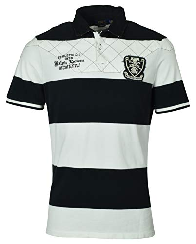 Fit Classic Rugby Striped - Polo Ralph Lauren Men's Classic Fit Embroidered Patch Logo Rugby Shirt - L - White/Black