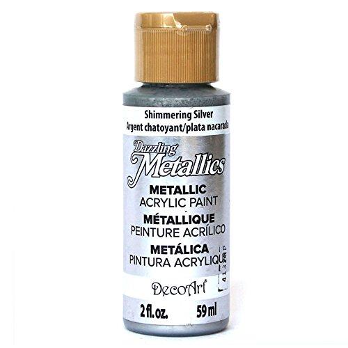 DecoArt Dazzling Metallics 2-Ounce Shimmering Silver Acrylic Paint from DecoArt