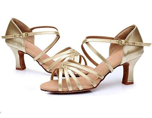 Kuki adulto Señoras con tacón alto Latina zapatos de baile, satén Color de la piel de las mujeres soft-bottom Latina zapatos, 6, US8 / EU39 / UK6 / CN39 6
