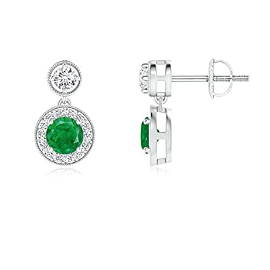 Angara Dangling Emerald and Diamond Halo Earrings in White Gold 3QYRqiJ9l