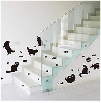 Adhesivo de pared gato negro silueta estantería escaleras dormitorio decoración portátil: Amazon.es: Bricolaje y herramientas