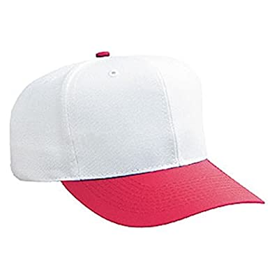 New White and Red Blank Plain Snapback Hat Cap Curved Bill Adjustable Adult Sz from Otto