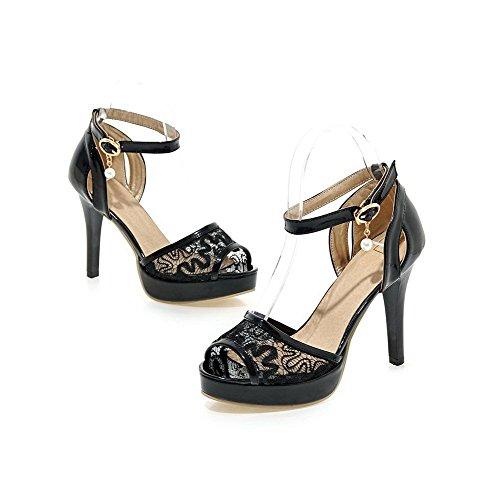 Toe Sandals Open Black CA18LB04896 Buckle Women's Blend Materials WeenFashion Solid xX7q7B