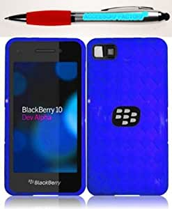 Bloutina Accessory Factory(TM) Bundle (the item, 2in1 Stylus Point Pen) For Blackberry Z10 TPU Cover Case - Blue