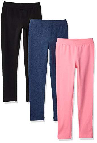 (Amazon Essentials    Girls' 3-Pack Leggings, black beauty/pink/Navy Heather 3T)