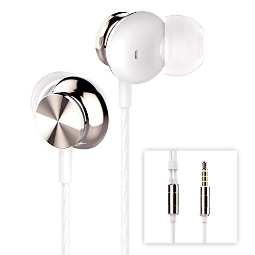 Betron BS10 Earphones Headphones, Powerful Bass Driven Sound, 12mm Large Drivers, Ergonomic Design for iPhone, iPad, iPod, Samsung and Mp3 Players (White Gold No Mic)