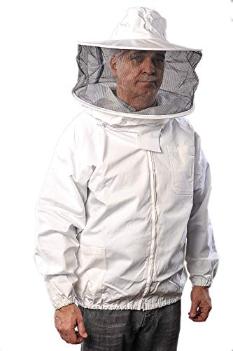 Forest Beekeeping Jacket with Round Veil Hood, Professional Premium...