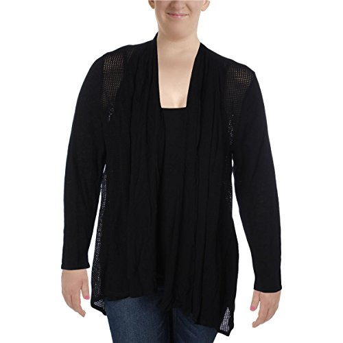 Style & Co. Womens Plus Pointelle Trim Open Front Cardigan Sweater Black 2X (Sweater Trim Pointelle)