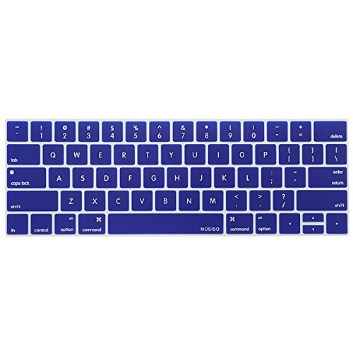 MOSISO Keyboard Cover Compatible Newest MacBook Pro with Touch Bar 13 Inch and 15 Inch (A1989 / A1706, A1990 / A1707) 2018 2016 2017 Release with Touch ID, Dark Blue