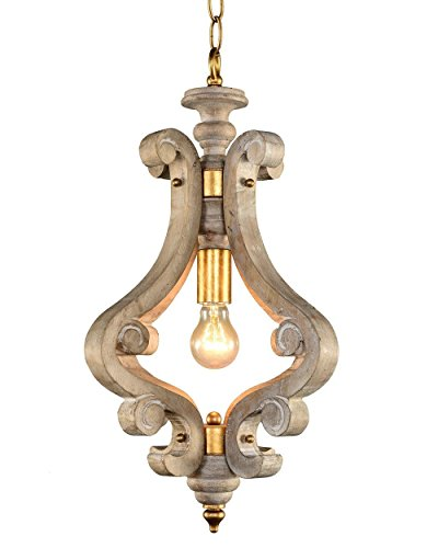 Farmhouse Chandelier Lamp Vintage Wooden Japanese Flush Gold Rust Iron Pendant Lighting 1 Light Swag Wood and Metal Diameter 13.8 inch French Country Gazebo Beach Staircase Entryway Barn Hall