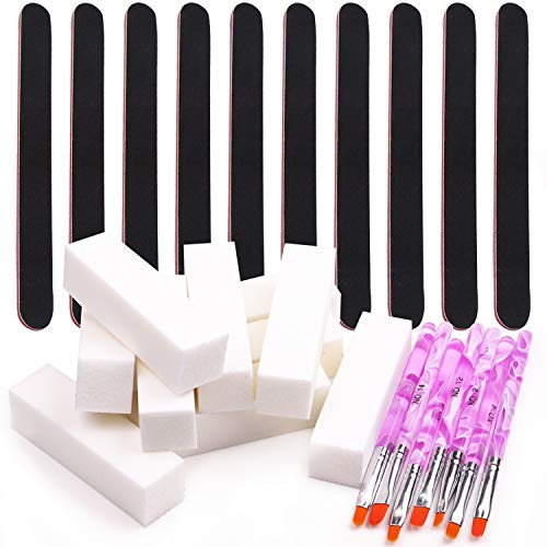 BTArtbox Nail Files And Buffers Set - 7PCS Arylic Gel Nail Builder Brushes &10PCS 100/180 Grit Nail Files Washable Emery Boards & 10PCS Acrylic Nail Buffer Block Nail Art Manicure Pedicure Tool
