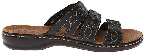 CLARKS Leisa de La Mujer Cactus Slide Sandal Cuero negro