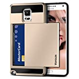 Galaxy Note 3 Case, Vofolen(TM) Hybrid Armor Galaxy Note 3 Wallet Cover Carrying Case Protective Shell Hard PC Case + Soft TPU Bumper Cover with Card Holder Slot for Samsung Galaxy Note 3 (Gold)