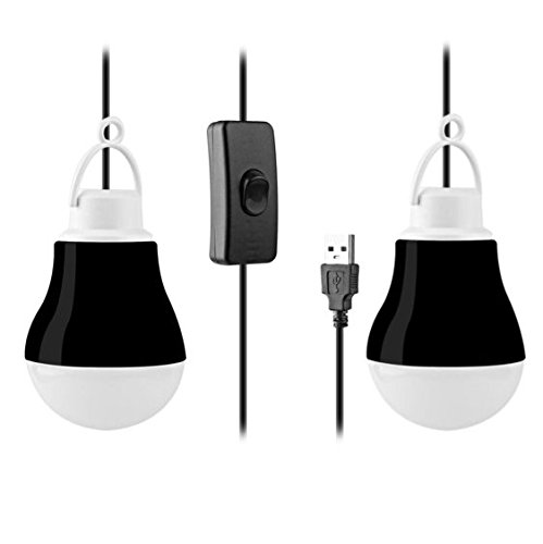 [2-Pack] KOBRA USB LED Light Bulbs For Camping, Emergency, And Night Light - 5W 40 Wire (Black)