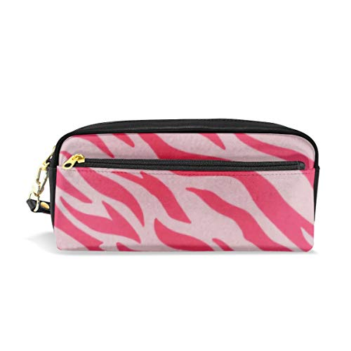 Pink Stripe Animal Tiger Pattern Print Pencil Pack Organizer Pen Holder Case Cosmetics Glasses Canvas Bag Makeup Pouch Office Box Girls Kid Boy School Gift 2 Pockets Decor