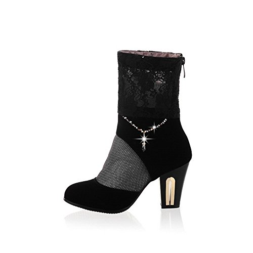 BalaMasa Womens Lace Round-Toe Frosted Pumps-Shoes Black