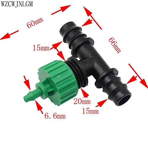 Kammas 16mm to 20mm Garden Hose Barb tee Fittings Micro Irrigation Hose Connector 1/2' Thread to 4/7mm Hose Connector 20pcs - (Color: 16mm to 4I7mm)
