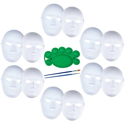 12 PCS DIY White Mask Paper Full Face Opera Masquerade Mask Plain Mask