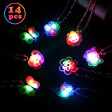 Satkago 14PCS LED Light Up Necklaces, Birthday Party Favors Supplies Glow in The Dark Luminous Pendant Gift Christmas New Year Eve Toy Prizes for Kids Girls Boys Child