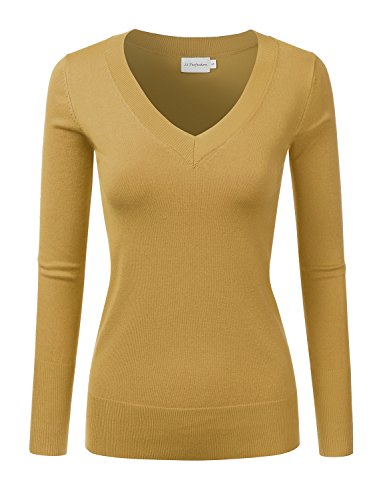 JJ Perfection Women's Simple V-Neck Pullover Chic Soft Sweater Mustard S ()