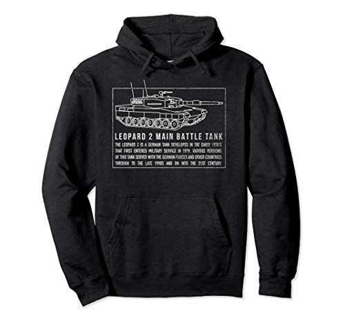 Leopard 2 German Tank Blueprint Schematic Gift Pullover Hoodie (Best Main Battle Tank In The World Today)