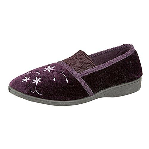 Zedzzz - Zapatillas de estar por casa con detalle bordado modelo Joanna para mujer Púrpura