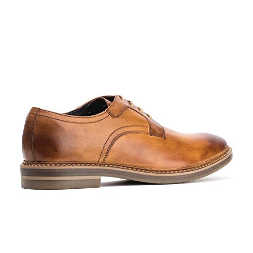 Base London Mens Spencer Washed Leather Smart Casual Derby Style Shoes Tan