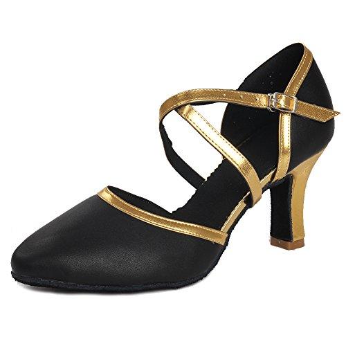 SWDZM Damen Ausgestelltes Tanzschuhe/Standard Latin Dance Schuhe Ballsaal Modell-DC-515 (Absatz-7cm) Schwarz+gold