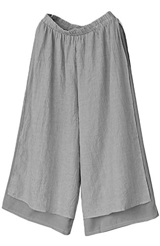 Mordenmiss Women's Wide Leg Pants Cotton Two-Layer Ankle Capris Trousers (XL, Gray) ()