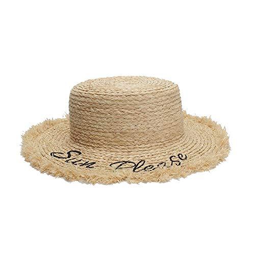 Woven Straw hat Fashion Wind Summer Sun Hat Ladies Straw Hat Letter Embroidery Flat Hat Flat Top Hair Visor Raffia Classic Cowboy hat (Color : Light Khaki, Size : ()