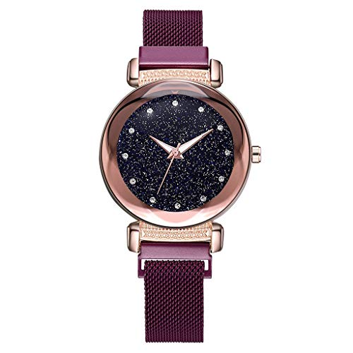 - Saying Ladies Wristwatch Woman'S Bracelets Fashion Starry Sky Dial Diamond Quartz Bracelet Mesh Belt Magnetic Buckle Female Watch Ladies Timepiece Very Suitable As A Gift (Purple)