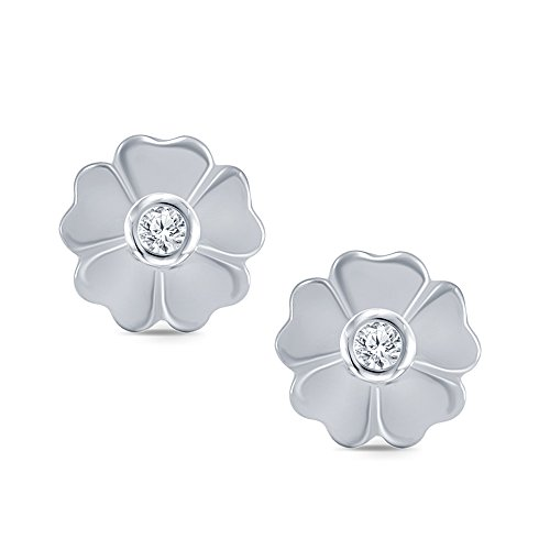 Baby Diamond Heart (0.01 cttw Round White Natural Diamond 925 Sterling Silver Heart Flower Baby Girl Earring)