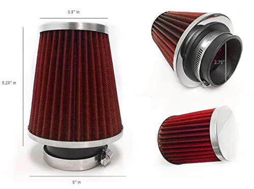 "2.75"" Inlet (70mm) Short Ram Cold Air Intake Chrome Top Cone Air Filter Universal (2.75"" Narrow, Red)"