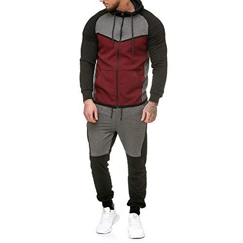 - iDWZA Fashion Men Splicing Zipper Sweatshirt Top Pants Sets Sports Suit Tracksuit(Red,US L/CN XL)