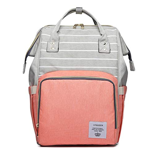 (Mommy Maternity Stripe Nappy Diaper Backpack Travel Large Spacious Tote Shoulder Bag Nursing Organizer Bag (Grey+Pink))